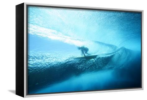 Underwater View of a Surfer with a Surfboard-Andy Bardon-Framed Canvas Print