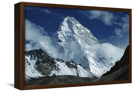 The North Face of K2 from K2 Glacier, 2nd Highest Peak in the World, Karakoram, Xinjiang, China-Colin Monteath/Minden Pictures-Framed Canvas Print
