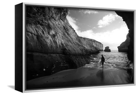 A Stand Up Paddleboarder on the Rough Coastline North of Santa Cruz-Ben Horton-Framed Canvas Print