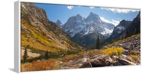 A High Canyon in Fall Foliage and Early Snow, and Snow Covered Peaks-Greg Winston-Framed Canvas Print