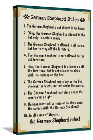 German Shepherd House Rules--Stretched Canvas Print