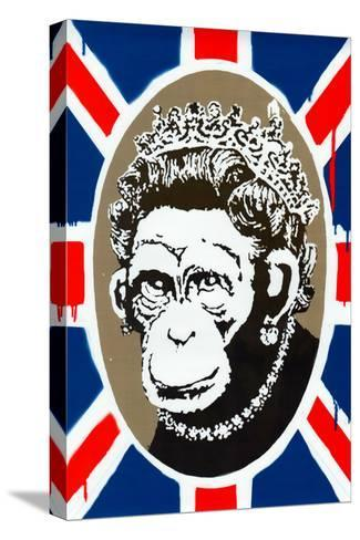 Monkey Queen Union Jack Graffiti--Stretched Canvas Print