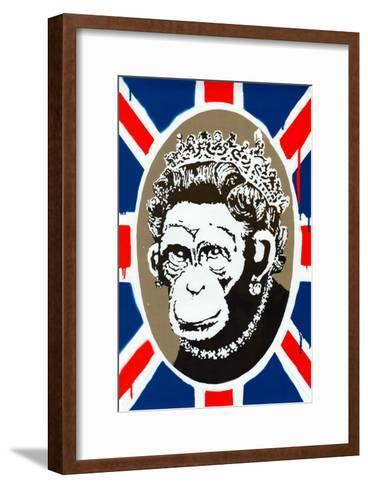 Monkey Queen Union Jack Graffiti--Framed Art Print