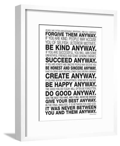 Mother Teresa Anyway Quote Poster Art Print By Art Com