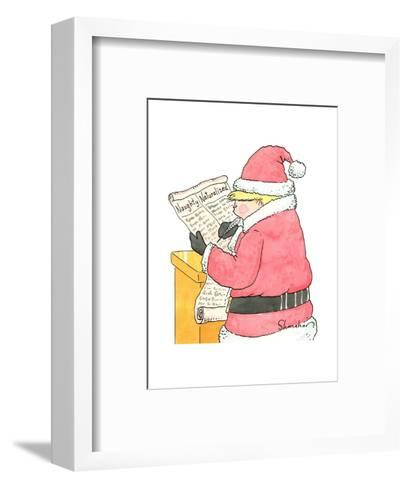 "Trump Santa looks at his list of ""Naughty"" and Naturalized"" people. - New Yorker Cartoon-Danny Shanahan-Framed Art Print"