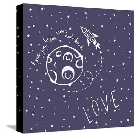 Card Love You to the Moon and Back-happiestsim-Stretched Canvas Print
