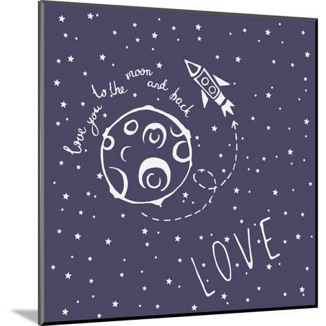 Card Love You to the Moon and Back-happiestsim-Mounted Art Print