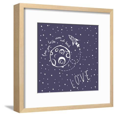 Card Love You to the Moon and Back-happiestsim-Framed Art Print