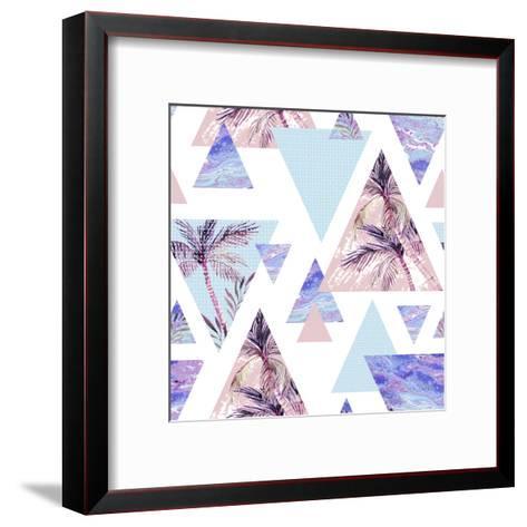 Abstract Summer Geometric Seamless Pattern-tanycya-Framed Art Print