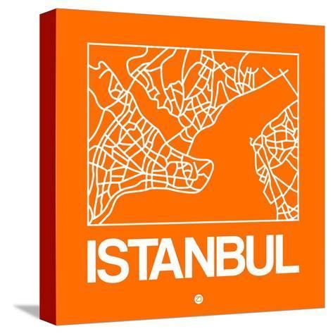 Orange Map of Istanbul-NaxArt-Stretched Canvas Print