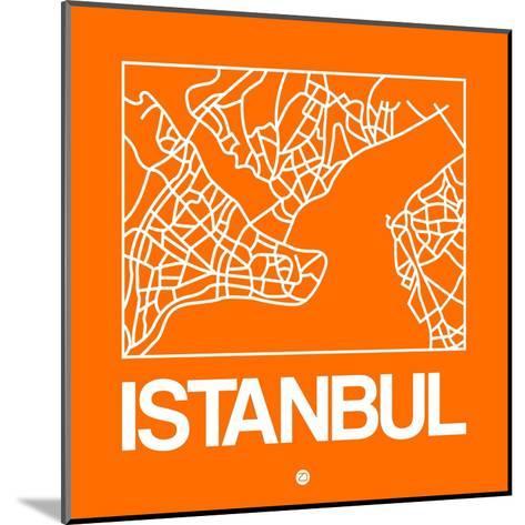 Orange Map of Istanbul-NaxArt-Mounted Art Print