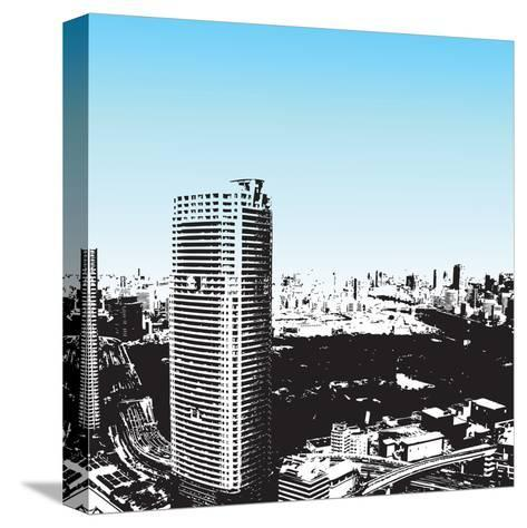 Grunge Style Skyscrapers-JENNY SOLOMON-Stretched Canvas Print