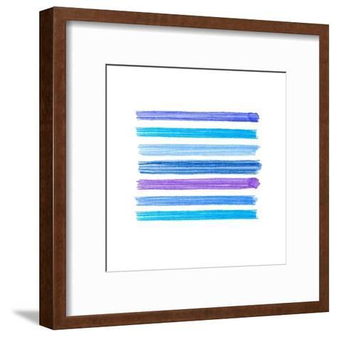 Watercolor Brush Strokes Collection. Colorful Watecolor Pencil Brushstrokes. Blue, Indigo and Lilac- Nesele-Framed Art Print