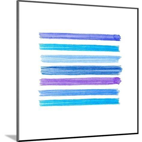 Watercolor Brush Strokes Collection. Colorful Watecolor Pencil Brushstrokes. Blue, Indigo and Lilac- Nesele-Mounted Art Print