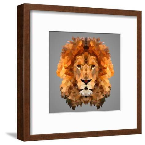 Lion Low Poly Portrait-kakmyc-Framed Art Print