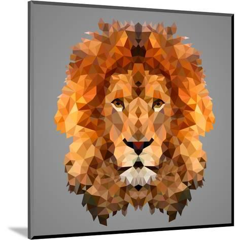 Lion Low Poly Portrait-kakmyc-Mounted Art Print