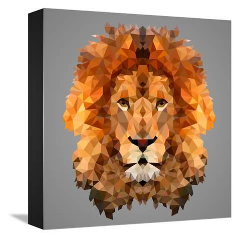 Lion Low Poly Portrait-kakmyc-Stretched Canvas Print