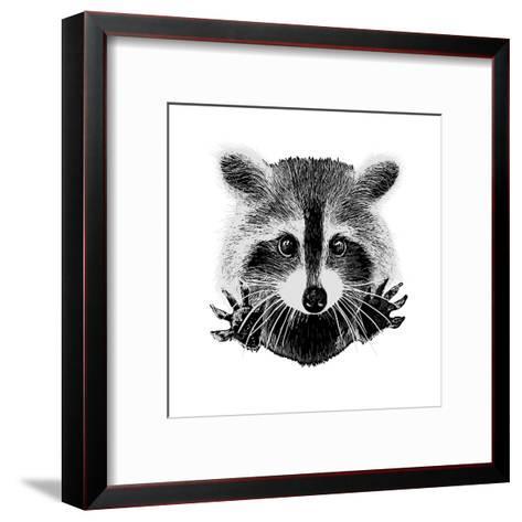 Hand Drawn Raccoon-LViktoria-Framed Art Print