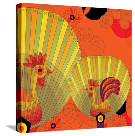 Nature Fan, Rooster Color-Bel?n Mena-Stretched Canvas Print