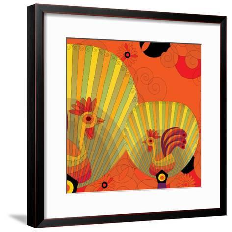 Nature Fan, Rooster Color-Bel?n Mena-Framed Art Print