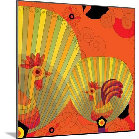 Nature Fan, Rooster Color-Bel?n Mena-Mounted Giclee Print