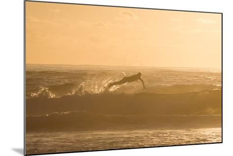 A Surfer Dives over a Wave on Praia Da Joaquina Beach on Florianopolis Island-Alex Saberi-Mounted Photographic Print