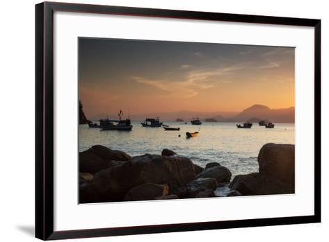 Fishermen's Boats Float Off the Coast of Praia Da Picinguaba, Ubatuba, Brazil-Alex Saberi-Framed Art Print