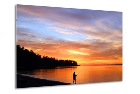 Silhouette of Man Fishing on West Beach on Whidbey Island-Donna O'Meara-Metal Print