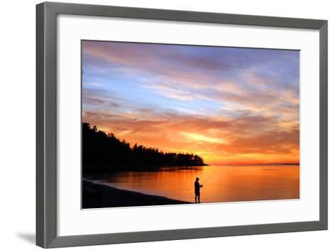 Silhouette of Man Fishing on West Beach on Whidbey Island-Donna O'Meara-Framed Art Print