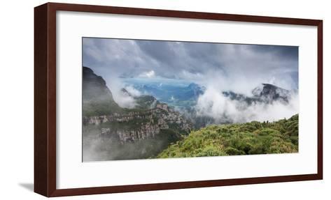 Morro Da Igreja Rocks in the Clouds and Mists Near Urubici in Santa Catarina, Brazil-Alex Saberi-Framed Art Print