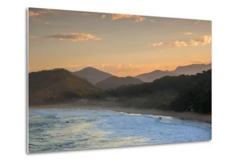 Praia Vermelha Do Centro Surfer Beach and Serra Do Mar State Park in Ubatuba, Brazil-Alex Saberi-Metal Print