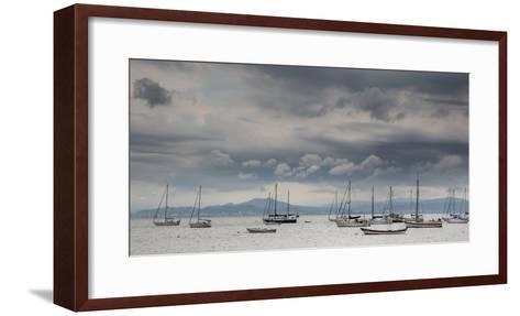 Fishing Boats Line Up Near the Coast of Florianopolis Island in Santa Catarina, Brazil-Alex Saberi-Framed Art Print