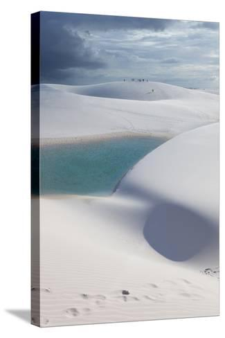 The Lencois Maranhenses Sand Dunes and Lagoons at Sunset in Maranhao State, Brazil-Alex Saberi-Stretched Canvas Print