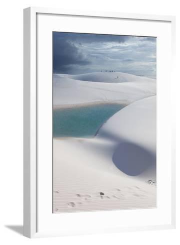 The Lencois Maranhenses Sand Dunes and Lagoons at Sunset in Maranhao State, Brazil-Alex Saberi-Framed Art Print