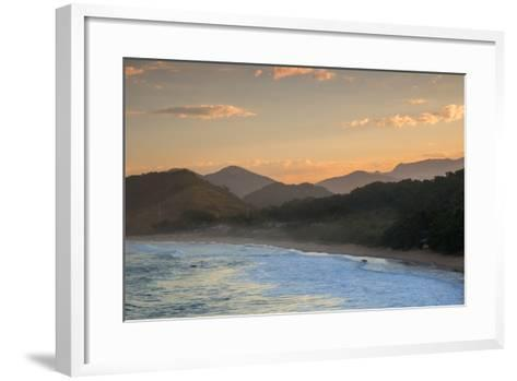Praia Vermelha Do Centro Surfer Beach and Serra Do Mar State Park in Ubatuba, Brazil-Alex Saberi-Framed Art Print