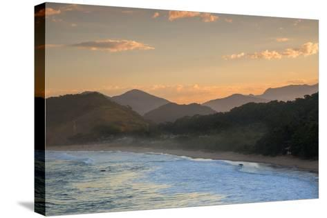 Praia Vermelha Do Centro Surfer Beach and Serra Do Mar State Park in Ubatuba, Brazil-Alex Saberi-Stretched Canvas Print