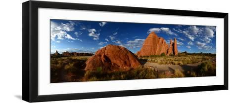 Sandstone Fin Formations at Sunset-Raul Touzon-Framed Art Print