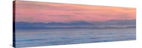 Thick Fog over Strait of Juan De Fuca During Sunrise from Hurricane Ridge-Raul Touzon-Stretched Canvas Print