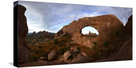 Turret Arch Through North Window Arch at Arches National Park-Raul Touzon-Stretched Canvas Print