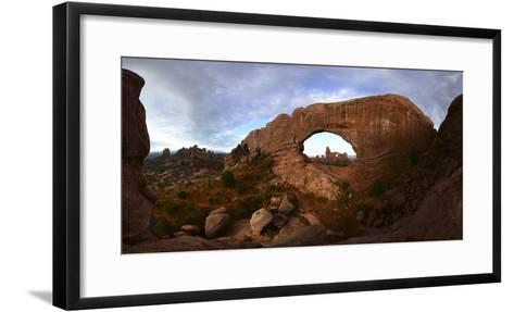 Turret Arch Through North Window Arch at Arches National Park-Raul Touzon-Framed Art Print