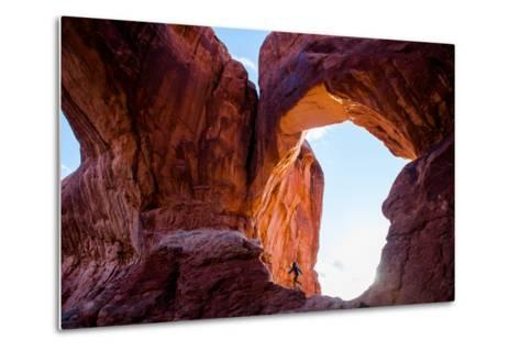 A Professional Surfer Hiking in Arches National Park-Ben Horton-Metal Print