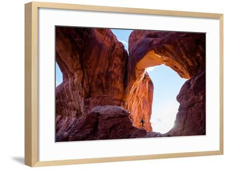 A Professional Surfer Hiking in Arches National Park-Ben Horton-Framed Art Print