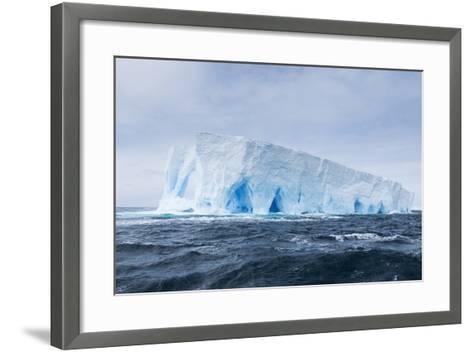 A Natural Arch Formation Inside a Tabular Iceberg-Jeff Mauritzen-Framed Art Print
