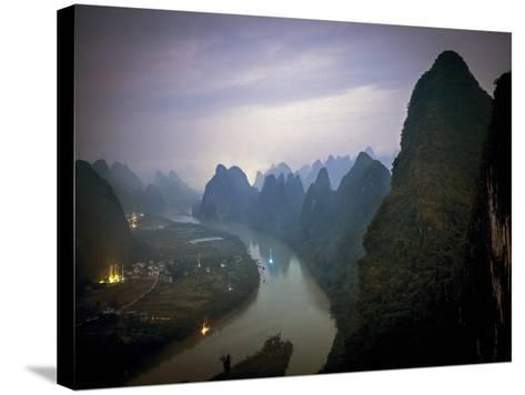 Karst Mountains Along the Li River, Guilin, Guangxi Province, China-Tino Soriano-Stretched Canvas Print
