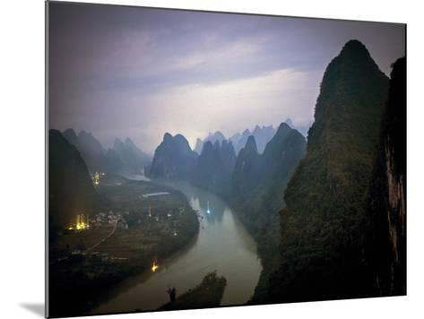 Karst Mountains Along the Li River, Guilin, Guangxi Province, China-Tino Soriano-Mounted Photographic Print