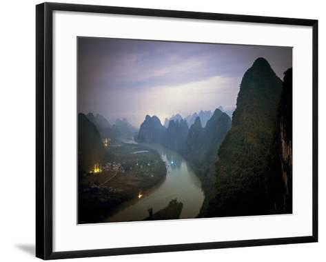 Karst Mountains Along the Li River, Guilin, Guangxi Province, China-Tino Soriano-Framed Art Print