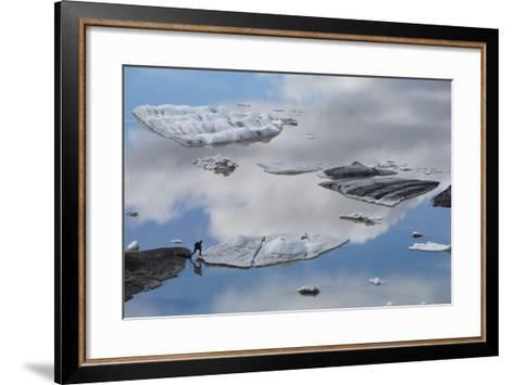 A Tourist Jumps onto an Iceberg from Hoffellsjokull Glacier in Vatnajokull, Iceland-Michael Melford-Framed Art Print