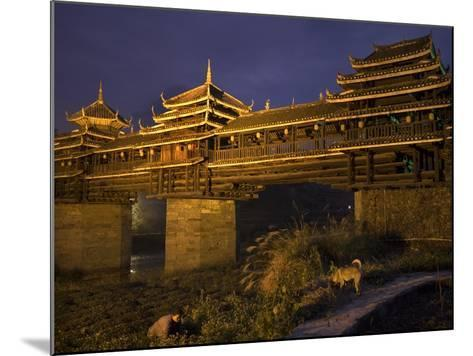 Chengyang Wind and Rain Bridge at Night-Tino Soriano-Mounted Photographic Print