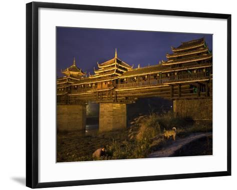 Chengyang Wind and Rain Bridge at Night-Tino Soriano-Framed Art Print