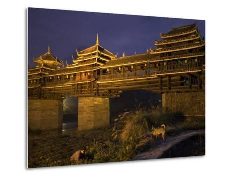 Chengyang Wind and Rain Bridge at Night-Tino Soriano-Metal Print